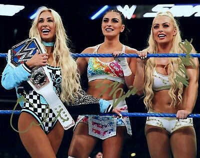 MANDY ROSE , SONYA DEVILLE & CARMELLA Autograph Signed 8x10 Photo WWE SMACKDOWN