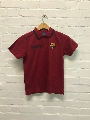 FC Barcelona Official Kid's Club Logo Polo Shirt - 10-11 Years - Claret - New