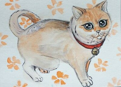ACEO Original painting Cat with a bell Watercolor Art Miniature