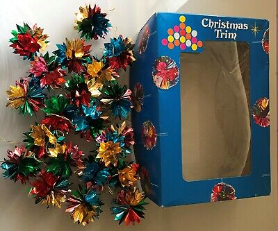 26 x Vintage Box Christmas Tree Foil Flower Baubles Decoration Ornament JAPAN