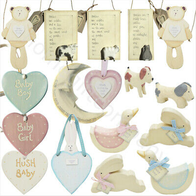 East of India Baby Boy Girl Wooden Figurine Decorations Hanging Plaque Sign Gift