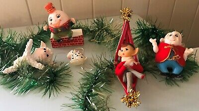 5 x Vintage Christmas Tree Decorations Ornaments HUMPTY Pixie JAPAN ; HONG KONG