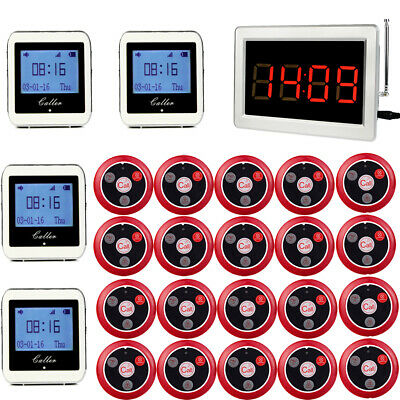 Wireless Restaurant Guest Calling Server Watch Paging System 20Call Button 999CH