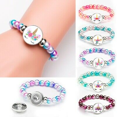 Unicorn Rainbow Beads Bracelets18mm Kids Girls Women Jewelry Gift Cabochon Glass