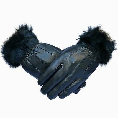 Ladies Touch Screen Women Leather Winter Gloves With Fur Trim Flee