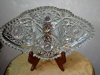 Vtg. Cut /Press Glass Dish
