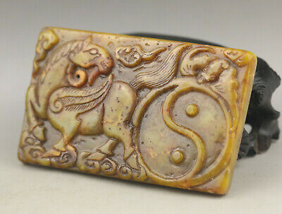 Old Chinese natural jade hand-carved horse bagua inkstone