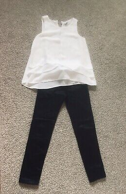 ZARA. Girls Black Faux Leather Leggings/Jeggings And TU White Top Age 7 Outfit