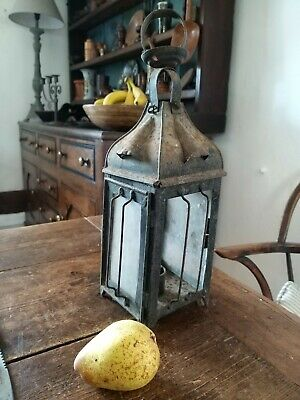 A Lovely Early Metal Lantern Primitive Candle Lamp