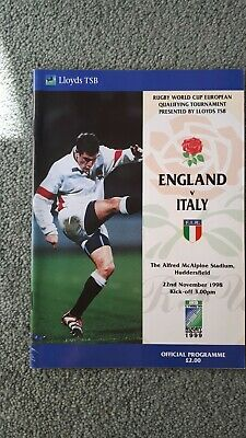 Rugby Union England vs Italy World Cup Qualification Game 1998 Programme