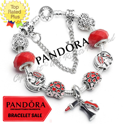 Authentic Pandora Charm Bracelet Silver Red Hearts CZ with European Charms New