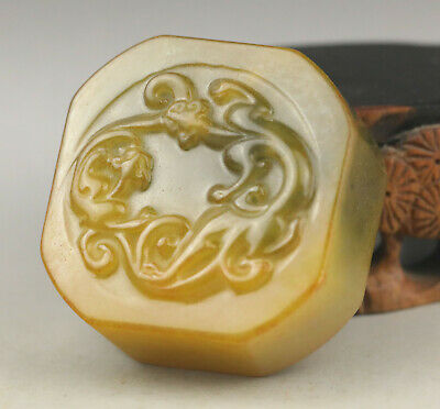 China old natural Jade hand-carved double dragon seal