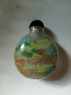 Vintage Glass Chinese Reverse Painted Snuff Bottle with Birds and Trees