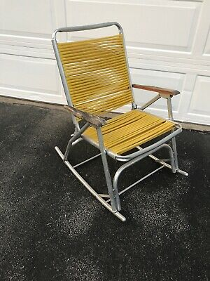 Outstanding Vintage Aluminum Folding Rocking Lawn Patio Chair Rocker Gmtry Best Dining Table And Chair Ideas Images Gmtryco