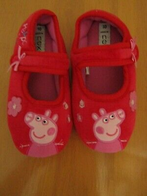 Next Girls Peppa Pig Red Velcro Strap Slippers - Size 10