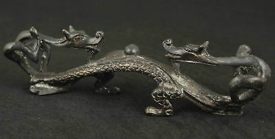 Rare Old Bronze Collectable Handwork Carved Dragon Statue Pen Stand