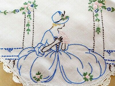Vintage Ecru Linen Ladies On Corners Tablecloth Topper 33x34 Hand Embroidered
