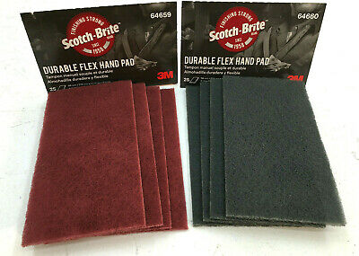 3M 64659 & 64660 Scotch Brite Durable Flex Hand Sanding Pads 4 of each Red&Gray