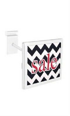 """6 Wire Grid Sign Holder White Holds 7"""" Wide x 5 ½"""" High Signs Metal Grid Wall"""