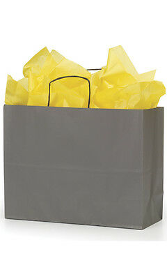 "Paper Vogue Shopping Bags 300 Large Gray 16"" x 6"" x 12"" Retail Merchandise Gift"
