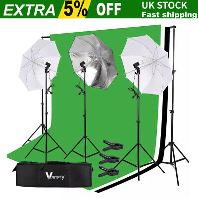 Photography Softbox Umbrella Lighting Kit Background Support Stand With 3Bulb