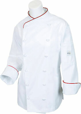 Mercer Renaissance Cutlery Women's Chef Coat (Scoop Neck) | White w/ Red Piping,