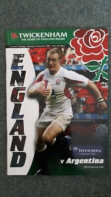 Rugby Union England vs Argentina Programme 2006