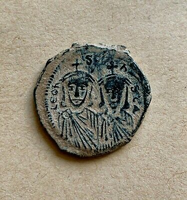 Leo III the Isaurian with Constantine V (717-741 AD) Follis. An excellent coin!