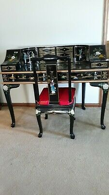 Swell Oriental Desk Furniture Chinese Black Lacquer With Mother Of Onthecornerstone Fun Painted Chair Ideas Images Onthecornerstoneorg
