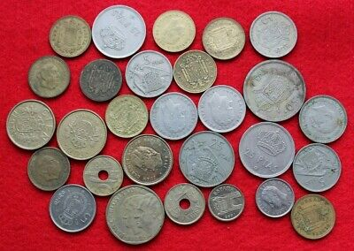 jOB LOT OF FOREIGN COINS /mostly Spain coins VARIOUS DENOMINATIONS