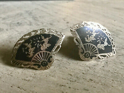 Vintage Sterling Silver Siam Niello Black Enamel Fan Cuff Links