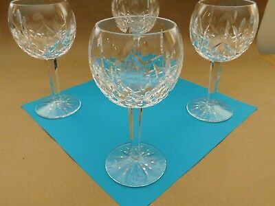Waterford Cut Crystal Lismore Wine Balloon Glasses 8oz set of 4