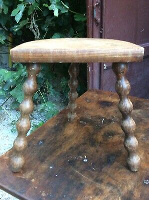 Vintage Sturdy French Stool Three Legged Half Moon Milking Walnut Hand Made Wood