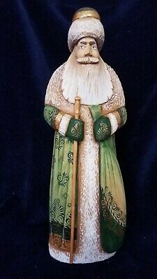 Hand Carved Painted Wooden Green Santa Claus #7 Christmas Russia USSR Soviet