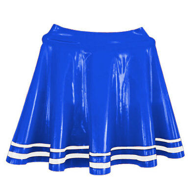 New Latex Women Sexy Navy Blue and White stripe skirt 0.4mm size S-XXL