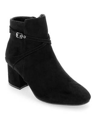 Womens Black Extra Wide Fit Eee Ankle Boots Low-Heel Zip Comfy Shoes Sizes 4-9