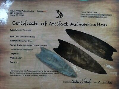 """4"""" Wheeler Excurvate G-9 Paleo Point Indian Artifact Arrowhead Authentic Relic"""