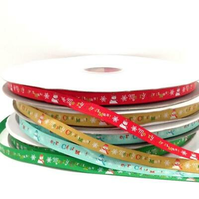 "Ribbon ""Merry Christmas"" with Snowmen and snowflake Pattern 4 Decorative colours"