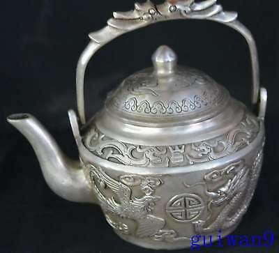 Collectable Handwork Miao Silver Carve Dragon & Phoenix Exorcism Lucky Tea Pot