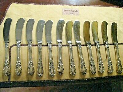 Antique Sterling Silver AMERICAN VICTORIAN 12pc Butter Appetizer Spreader Knives