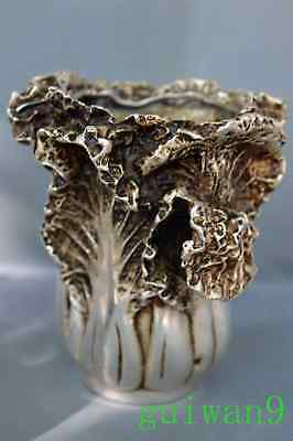 Collectable Handwork Tibet Old Miao SIlver Carve Cabbage Auspicious Brush Pot