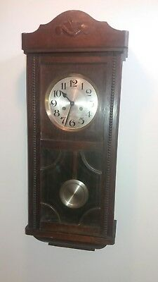 Antique English Oak Wall Clock Jahresuhrenfabrik- Triberg Germany Movement