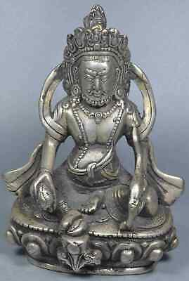 Collectable China Handwork Old Miao Silver Carve Pray Buddha Auspicious Statue