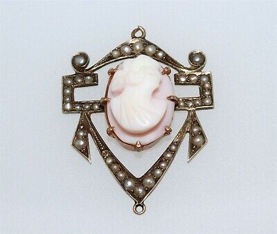 Antique Edwardian 10K Gold Angel Skin Cameo Seed Pearl Pendant