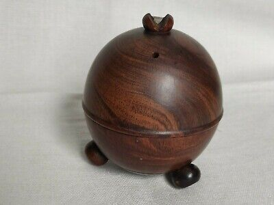 Antique Victorian TREEN Lignum Vitae String Box 19th Century