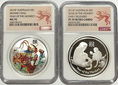 2016 Australia COLOR + PROOF Silver Lunar Year Monkey KING NGC MS70 1oz Coins
