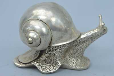 China Collectable Handwork Old Miao SIlver Carve Climb Snail Lucky Tibet Statue