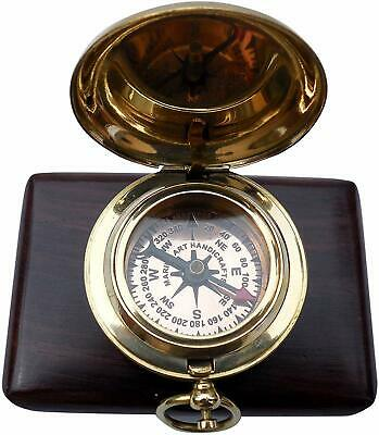 NAUTICAL Brass Push Button Engravable Direction Pocket Compass. GiFT