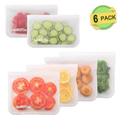 Reusable Leakproof Food Storage Bags, Extra Thick Safety PEVA Produce 6 Pack