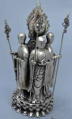 China handwork Collectable Old Miao SIlver Carve 4 Buddha Pray Auspicious Statue